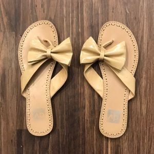 Nude Patent Leather Bow Flip Flops